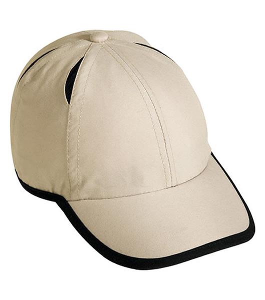 Czapka MB6156 Micro-Edge Sports Cap - 6156_lightkhaki_black_MB - Kolor: Light khaki / Black