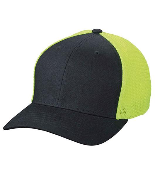 Czapka MB6189 Flexfit Mesh Cap - 6189_black_neonyellow_MB - Kolor: Black / Neon yellow