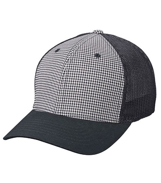 Czapka MB6189 Flexfit Mesh Cap - 6189_pepita_black_MB - Kolor: Pepita / Black