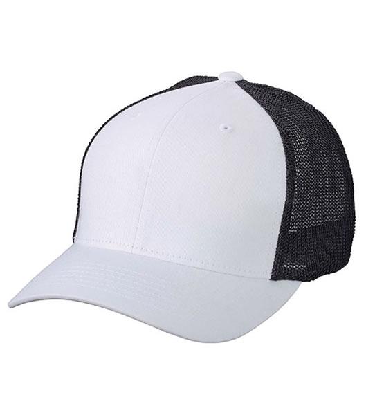 Czapka MB6189 Flexfit Mesh Cap - 6189_white_black_MB - Kolor: White / Black