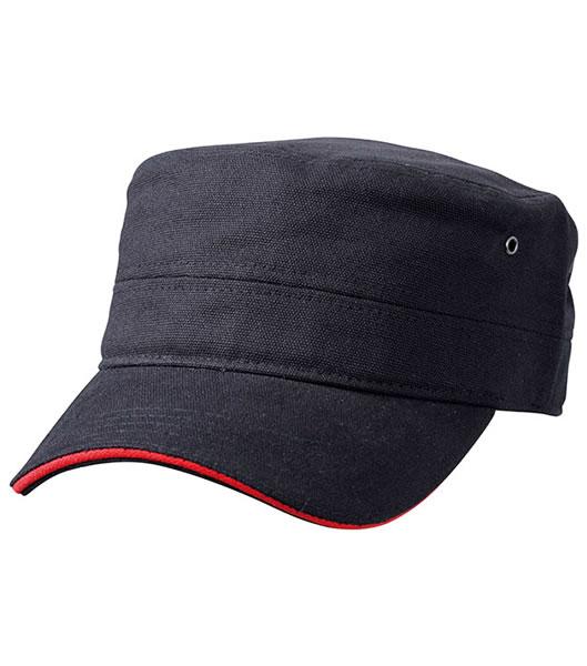 Czapka MB6555 Military Sandwich Cap - 6555_black_red_MB - Kolor: Black / Red