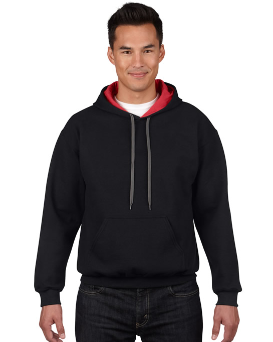 Bluza Heavy Blend Contrast Hooded Adult GILDAN 185C00 - Gildan_185C00_01 - Kolor: Black / Red