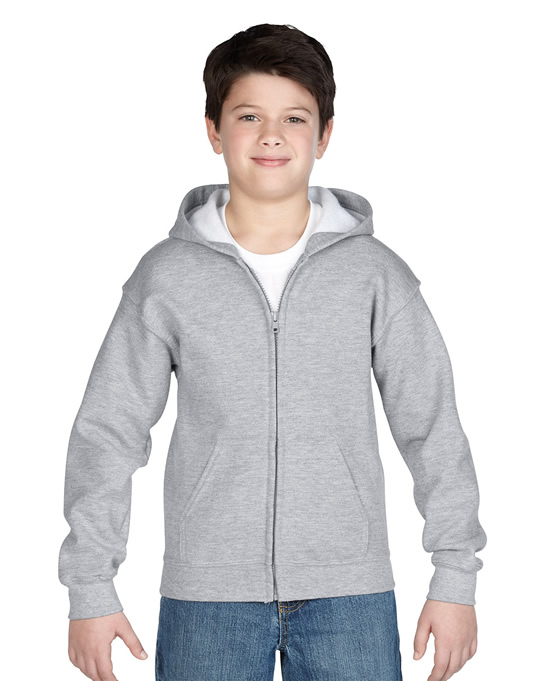 Bluza Heavy Blend Hooded Full Zip Youth GILDAN B1860 - Gildan_B18600_08 - Kolor: Sport grey