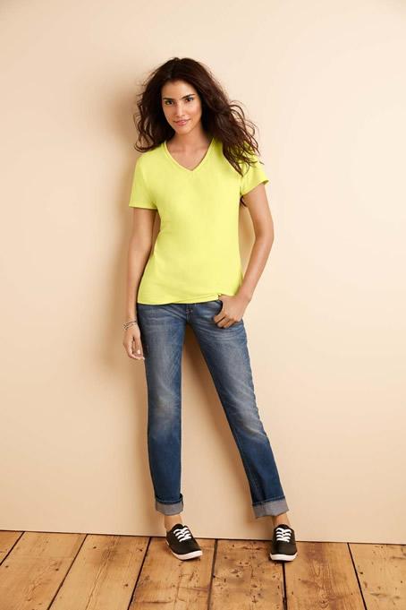 Koszulka Premium Cotton V-Neck Ladies GILDAN L4100V - Gildan_L4100V_01 - Kolor: Cornsilk