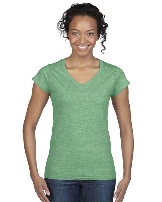 Koszulka Softstyle V-Neck Ladies GILDAN L64V00 - Gildan_L64V00_04 - Kolor: Heather irish green