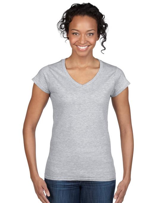Koszulka Softstyle V-Neck Ladies GILDAN L64V00 - Gildan_L64V00_12 - Kolor: Sport grey